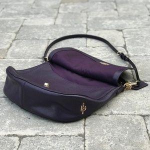 Coach Turnlock Purple Leather Hobo Handbag